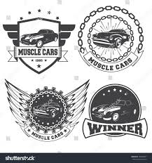 car logos set vintage muscle car logos isolated stock vector 528488821