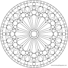 flower mandala picture to color stained glass window mandala