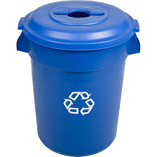 rubbermaid 32 gallon brute blue recycling container 2632 73
