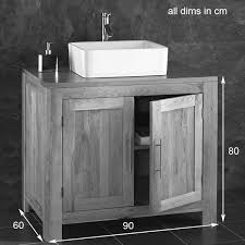 Portici Galala Limestone Basin Oak Cm Double Cabinet - Bathroom basin with cabinet