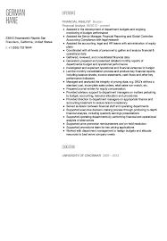 financial resume financial analyst resume sle velvet