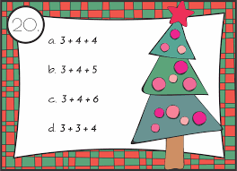 km classroom christmas addition math facts with three addends