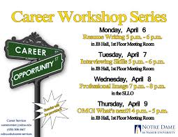 resume writing workshop this week on campus and a next week save the date reminder the career workshops spring 2015