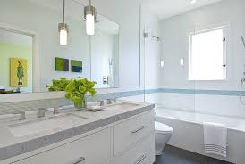 Pendant Light In Bathroom Shower Accent Tile Bathroom Contemporary With Light Blue Pendant