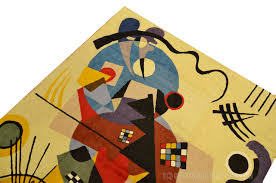 Miro 5ft X 7ft Wool by Kandinsky Abstract World Wool Rug Wall Tapestry Hand Embroidered