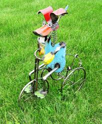 recycled metal on tricycle metal lawn ornament