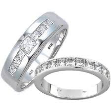 Sterling Silver Wedding Rings by His And Hers Matching Tungsten Carbide Wedding Engagement Ring