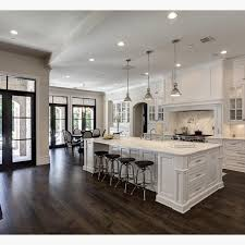 Do You Install Flooring Before Kitchen Cabinets Love The Contrast Of White And Dark Wood Floors By Simmons Estate