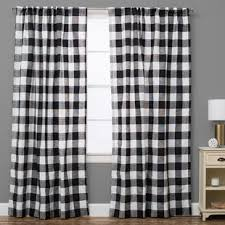 Black Check Curtains Check Plaid Curtains Drapes You Ll Wayfair