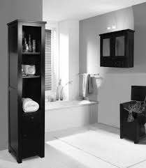 gray wall paint black real wood vanity with granite countertop