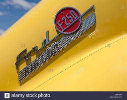 logo ford ford big job f 250 ford truck logo on a vintage truck painted
