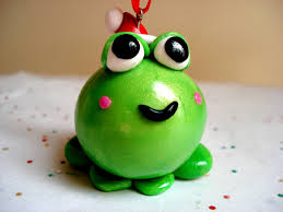 ornament frog with santa hat polymer clay frog