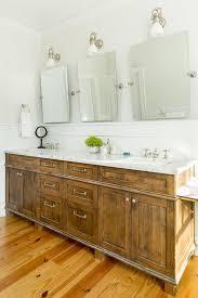 salvaged wood double washstand with three rectangular pivot