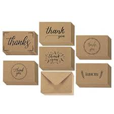 36 pack brown kraft paper thank you greeting cards