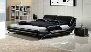 Bedroom Decorating Ideas With Black Leather Bed Furniture Sets - White leather contemporary bedroom furniture