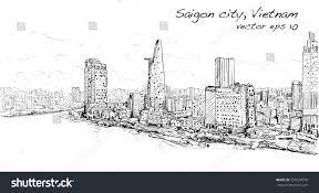 sketch cityscape saigon city ho chi stock vector 555034558