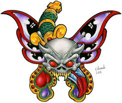 butterfly with dagger and skull color sle