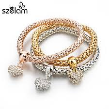 silver bracelet with pendant images 3pcs girls charm bracelets bangles gold silver plated friendship jpg