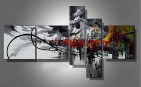 5 piece canvas wall art hand painted palette knife oil 2018 5 panels handpainted abstract cityscape building oil canvas