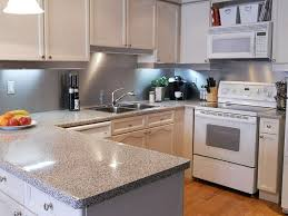 Backsplashes For White Kitchens by Stainless Steel Kitchen Backsplashes Installed In U Shaped Kitchen