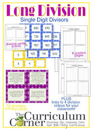 long division resources 1 digit divisor the curriculum corner