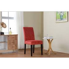linon home decor upton tomato red microfiber parsons side chair