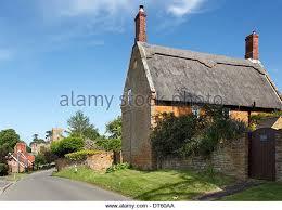 Blue Barns Hardingstone Northamptonshire Village Cottages Thatched Stock Photos