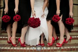 lovin u0027 the red shoes and bouquets with the black bridesmaids