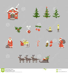 set of pixel art for christmas stock vector image 34932764