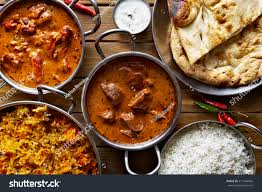 composition cuisine assorted indian curry rice dishes stock photo 617546066