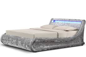 madrid led lights silver crushed velvet fabric ottoman storage bed
