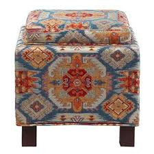 Ikat Storage Ottoman Modern Blue Ikat Print Square Upholstered Storage Ottoman With
