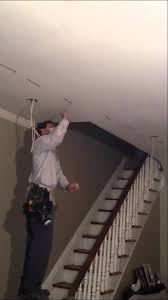 easy install recessed lighting fishing a wire across a ceiling youtube