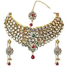 coloured stone necklace images Buy surat diamond traditional red green coloured stone kundan jpg