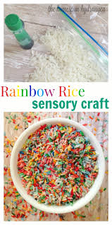 rice table for kids rainbow dyed sensory table rice