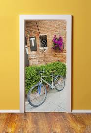 56 best in doors images on pinterest door stickers cotton canvas door sticker murals peel stick made from tear proof washable cotton canvas bicycle outside brick french countryside home
