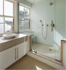 Bathrooms By Design Sand Colored Mosaic Floor Matches Vanity Top Soothing Palette