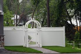White Backyard Fence - attractive white vinyl fences as economical selection for fencing