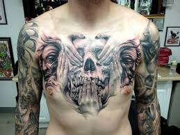 large skull chest large chest tattoos chest