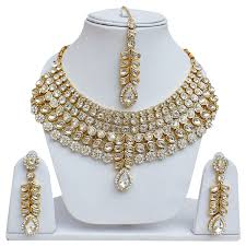 jewelry designs necklace sets images Lucky jewellery designer white color kundan cz stone gold plating jpg