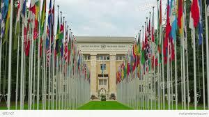 United Nation Flag United Nations Building With Flags Geneva Switzerland 4k Stock