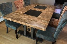wood block dining table custom furniture regina butcher block style dining table