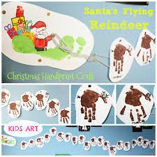santas flying reindeer christmas handprint craft олени