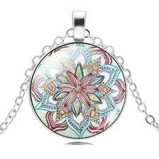 color flower necklace images Mandala lotus flower necklace pendant om symbol apple thorne jpg