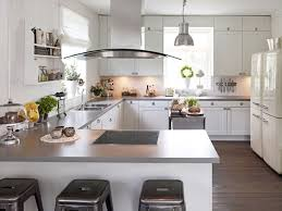 grey kitchen countertop design with white kitchen cabinet for