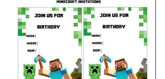minecraft birthday invitations minecraft birthday invitations free template minecraft birthday