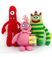 amazon yo gabba gabba 3 plush dolls muno brobee