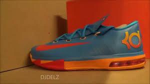 nike kd 6 blue orange team gs sneaker review with dj delz youtube