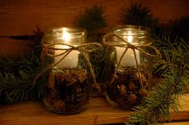 pine cone table decorations decorating ideas casual picture of glass jar candle holder pine