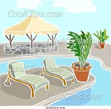 swimming pool with deck chairs vector clip art